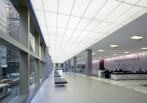 Ce center perforated metal and wood ceilings sustainability skidmore owings merrill llp used back illuminated perforated metal panels to create a luminous ceiling and good noise reduction in this office lobby aloadofball Image collections