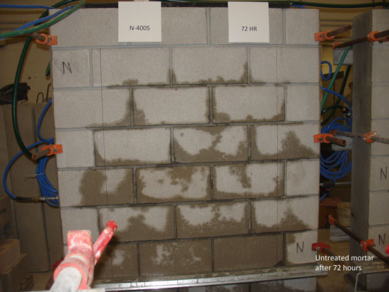 Masonry with integral water repellent mortar after 72 hours.