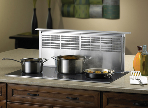 Induction Cooktop With Downdraft Ventilation Provides Efficient And Cool To The Touch Cooking Surfaces