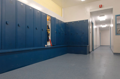 Long Lasting Easy To Clean Flooring For A Locker Room Included Troweled  Epoxy Base And An
