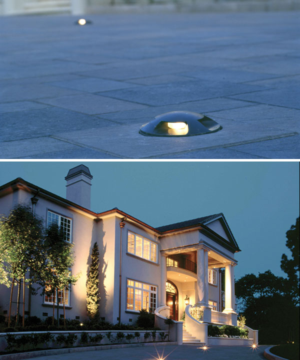 TOP: Direct burial lights are completely sealed and do not offer a pathway to drain surface water in this San Francisco private residence. BOTTOM: Recessed in-grade fixtures in driveways and parking decks can be drive-over rated to withstand the weight of an automobile.