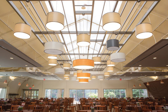 To deal with that extensive space, the design team brought in acoustical ceiling tiles with ceiling fixtures and dropped pendants.