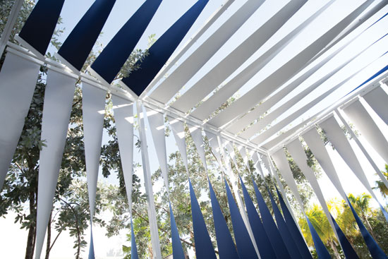 """Twisty,"" an innovative and flexible shading system, won a 2013 competition on the future of shade. An installation of Twisty was brought to life at The James Royal Palm in Miami Beach."