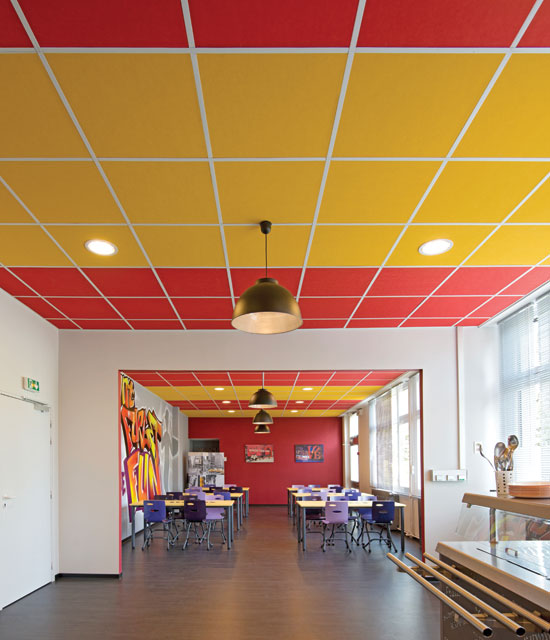 Stone wool ceiling panels can be specified in a wide range of colors for different settings, particularly appropriate in educational settings that still need high acoustical performance.