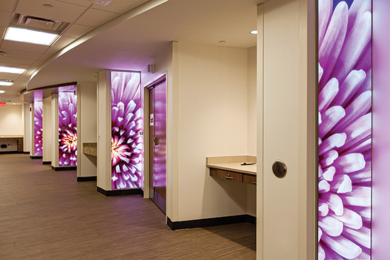 Edge lit, LED illuminated panels incorporate artwork and the ability to add lighting in spaces as needed.