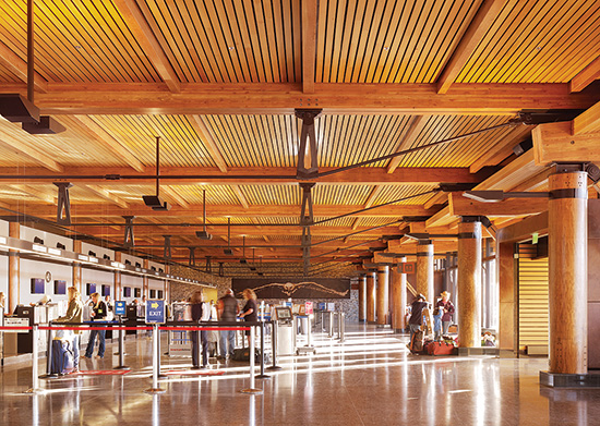 For the Jackson Hole Airport in Wyoming, designers chose wood because of its varied grain and color palette, as well as its ability to perform structurally under a variety of loading conditions. The inherent fire performance of heavy timber construction was vital in allowing the wood to be exposed. Winner of a 2015 WoodWorks Wood Design Award.