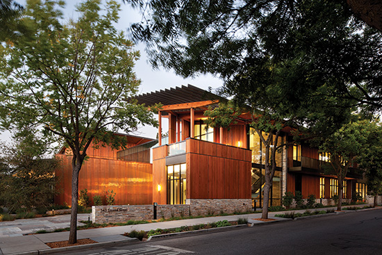 At the David & Lucile Packard Foundation company headquarters, wood was an important part of the strategy to achieve LEED Platinum certification.