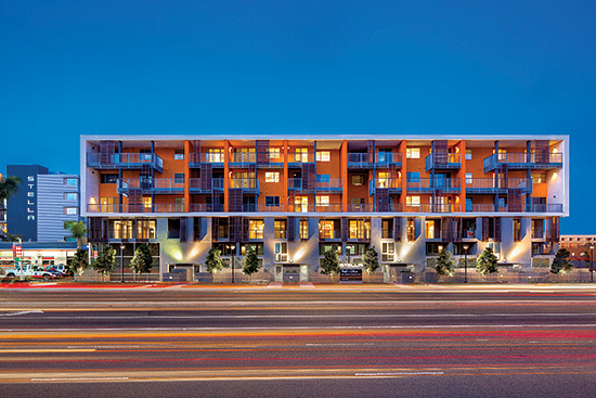 The luxury Stella development in California includes four and five stories of wood-frame construction over a shared concrete pool-level podium. It was designed to meet requirements for Seismic Design Category D.