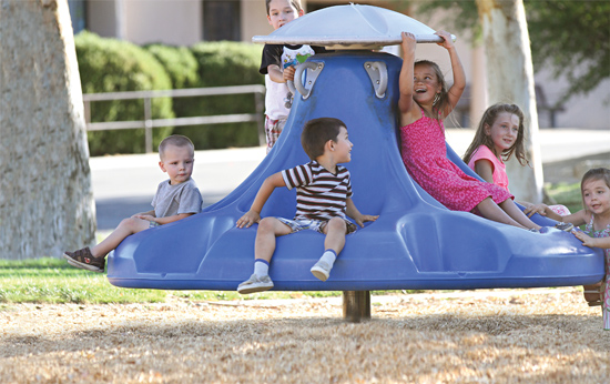 Through play activity in a well-designed playground, children develop all of their senses. That includes the five senses familiar to us (sight, sound, smell, taste, and touch) and the two most of us are unfamiliar with (proprioception and the vestibular sense).