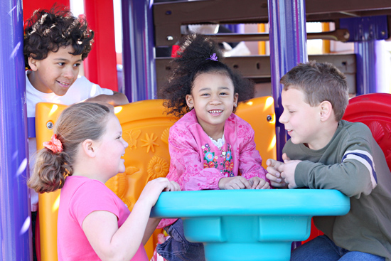 Playground equipment can actually encourage social interaction, which helps children develop social skills.