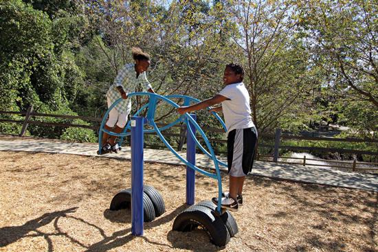 Playground equipment helps children develop their sense of balance.