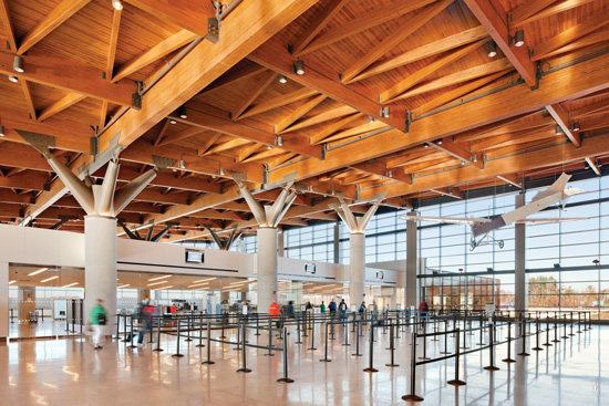 Southern pine glulam was chosen for this 40,000-sf roof because of its ability to span long distances with minimal need for intermediate supports.