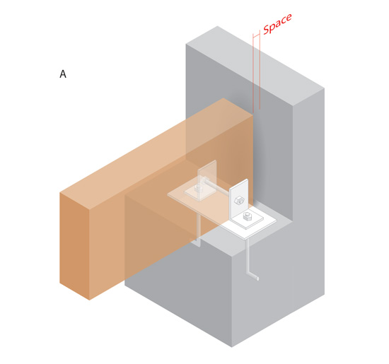 Beam on shelf in wall. The bearing plate distributes the load and keeps the beam from direct contact with the concrete. Steel angles provide uplift resistance and can also provide some lateral resistance. The end of the beam should not be in direct contact with the concrete wall.