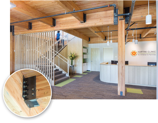 Designed by Path Architecture, Radiator is one of the first five-story timber-frame office buildings to be built in Portland, Ore., since the early 1900s. Fabricated steel bucket-style connectors with bolts were utilized for glulam beam-to-beam connections.