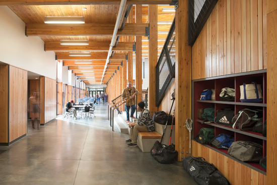 At Vashon Island High School, the use of wood throughout and extensive daylighting were key to the strong indoor-outdoor connection desired by the community.