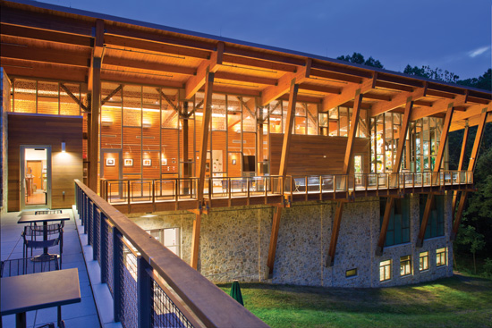 LEED Platinum James and Anne Robinson Nature Center – Columbia, Maryland; Architect: GWWO, Inc./Architects; WoodWorks Institutional Wood Design Award, 2014