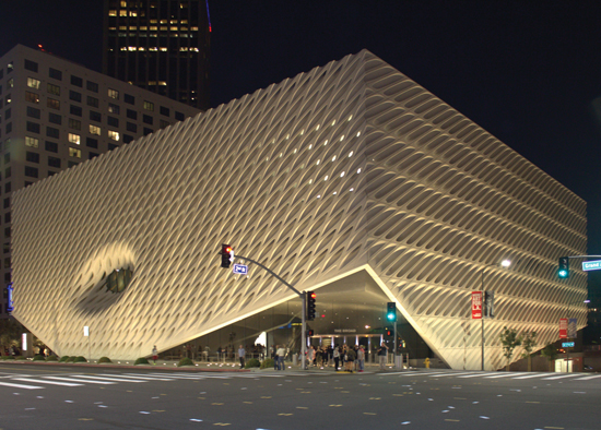 The Broad Museum's new wedding veil facade is comprised of more than 2,500 unique pieces of glass fiber reinforced concrete. This project showcases the aesthetic versatility, precision, forming, light, and sculpting ability of high-performance precast. The enclosure is designed to allow sunlight to enter the building, but without the light directly striking any of the art work inside.