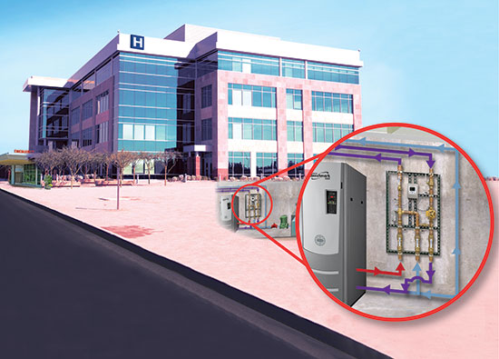A digital mixing and recirculation station provides safer hot water delivery in commercial and institutional buildings.