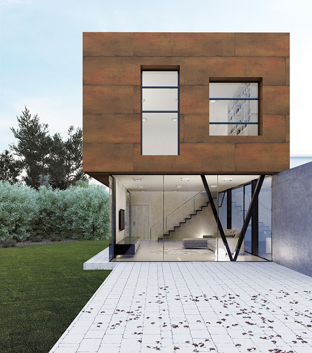 Ceramic tile—used on this house with a simulated steel finish—has been analyzed by Tile of Spain with an industry-wide, generic LCA to show its low long-term environmental impact.