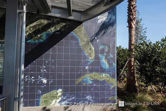 Ceramic tile has been used to bring some cultural benefits to sustainable design projects, as at this NASA facility with its digitally printed facade of ceramic tile showing a fade-resistant image of earth taken from the International Space Station.