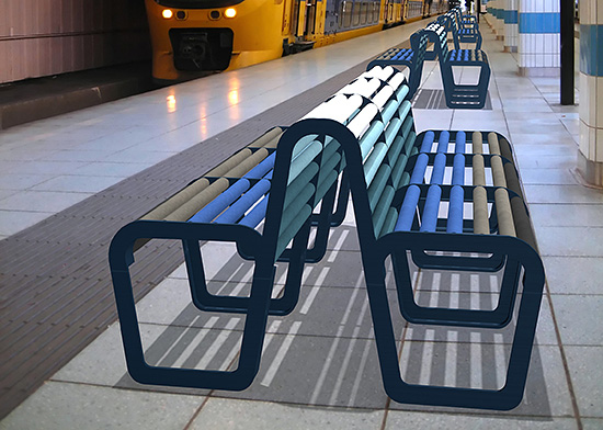 Without VOCs and known for its durability and other environmental benefits, ceramic tile has also gained appreciation among designers looking for ways to improve end-user health and happiness, as at this subway stop with its ceramic tile benches and finishes.