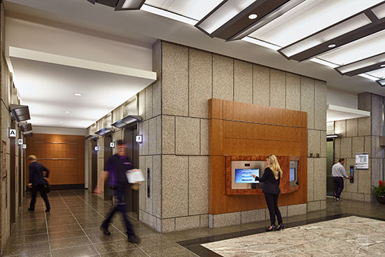 A DD system allows passengers to easily access information such as building facilities and tenant locations.