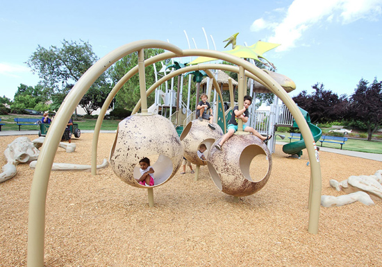 This dinosaur-themed playground is in Roseville, California.