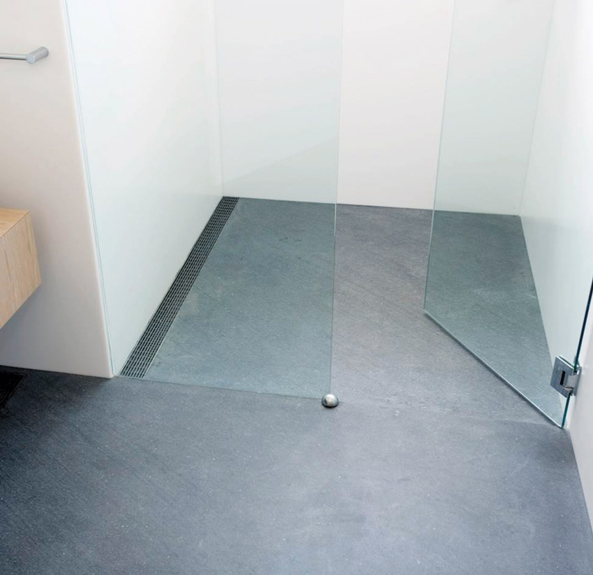 Shallower drains make it easier to keep the floor heights consistent between the wet area in a bathroom and adjacent areas.
