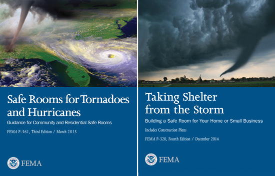 FEMA Publications P-361 and P-320 provide detailed requirements for safe rooms and shelters to withstand tornadoes, hurricanes, and flooding—some more stringent than the ICC-500 code.