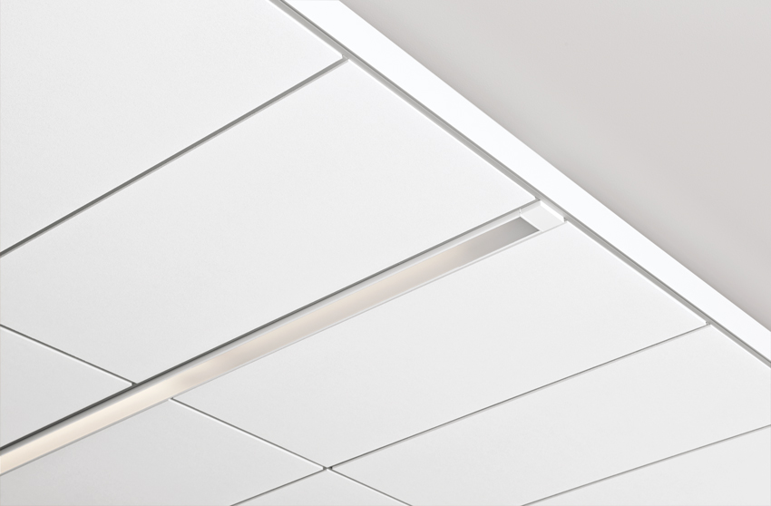 Ceiling system with compact linear zones for light fixtures