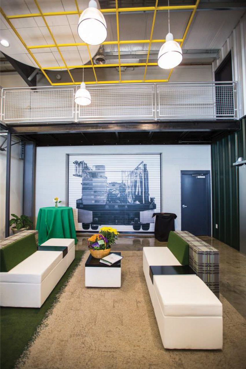 Designers can meet LEED Materials and Resources credits for indoor air quality by selecting doors with non-emitting, no-VOC finishes, as used in the graphics at the McKee corporate office showroom.