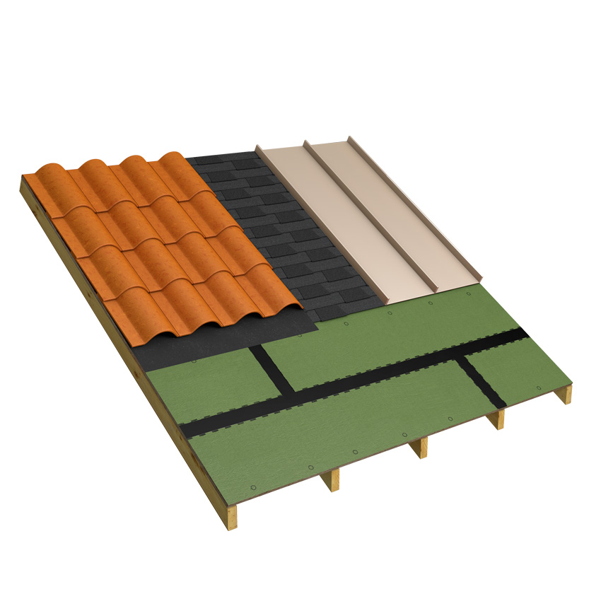 Clay tiles or metal roofing are alternatives to asphalt shingles that can be used over properly selected sheathing and underlayment.