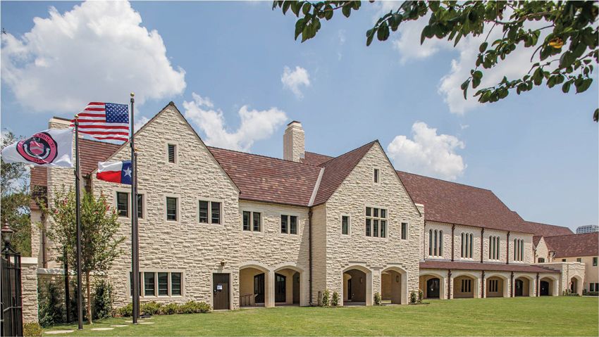 Texas limestone is used for its appearance and durability in commercial, institutional, and residential buildings, including St. John's school in Houston, Texas.