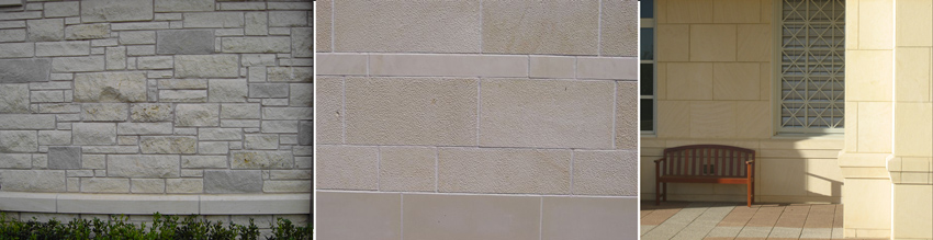 Texas limestone is available in a variety of surface textures such as the fairly rough split block (left), a more subtle rustic finish (center), or honed smooth (right).