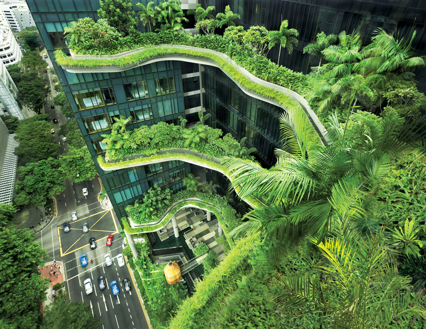 The facade of WOHA's Park Royal on Pickering hotel in Singapore.