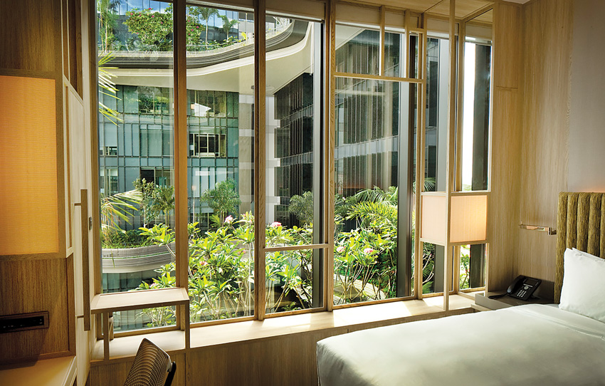 The gardens viewed from a guest room.