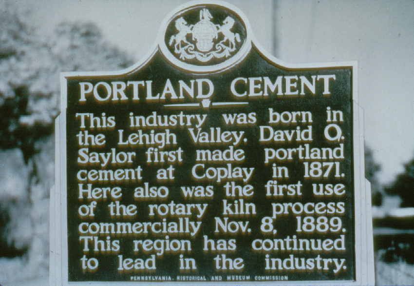 Photo of Portland Cement historical marker sign.