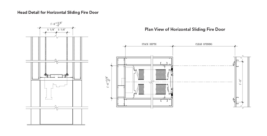 Drawing of header and pocket details for single-parting door with integrated pocket cover door compressed stack panels.