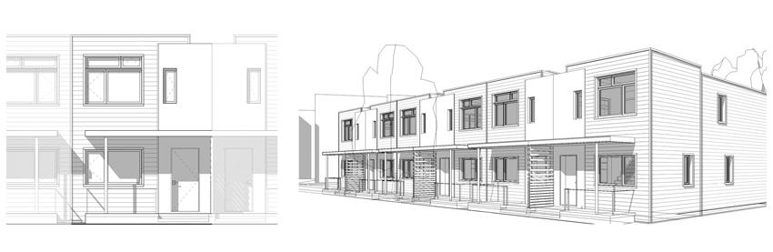 Illustration of building exteriors.