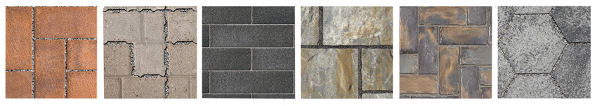 Photos of various pavers.