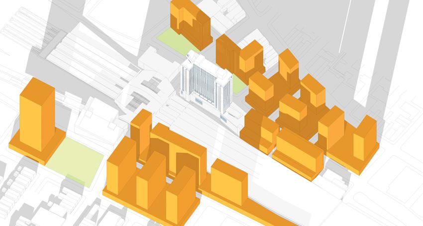 Computer rendering of urban sites.