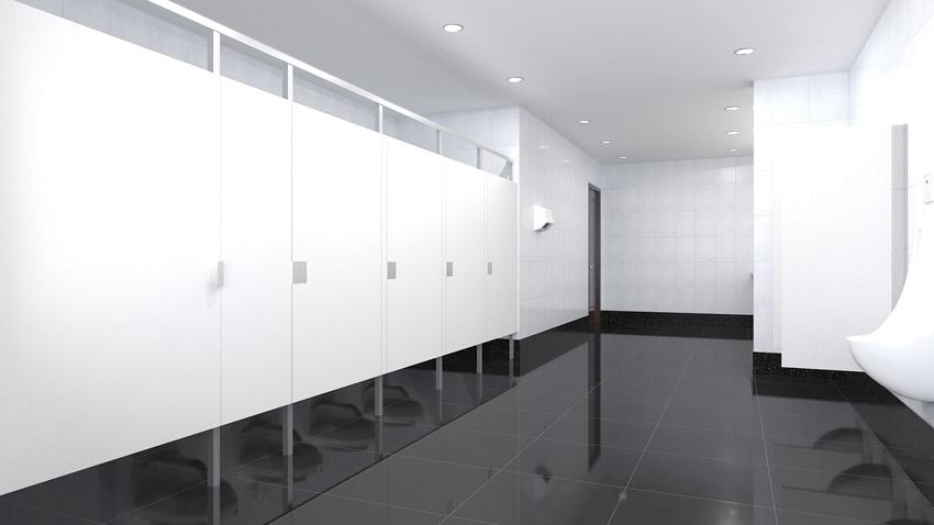 Photo of bathroom stall doors.