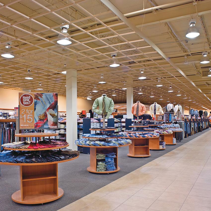 Interior photo of Burlington shopping mall.