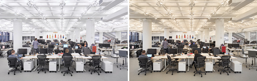 Two interior photos under different lighting conditions.