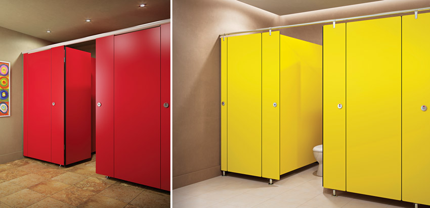 Two photos of restroom partitions.