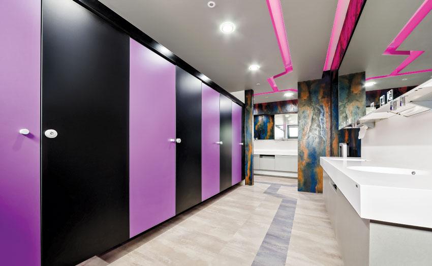 ETU Auto Grill restroom with purple doors.