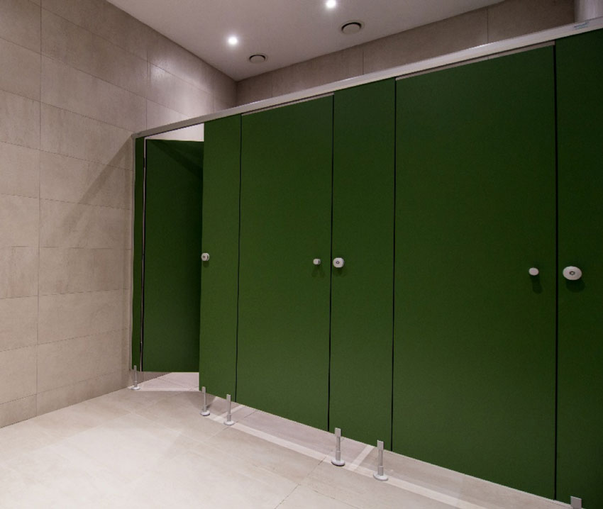 European-style bathroom green doors.
