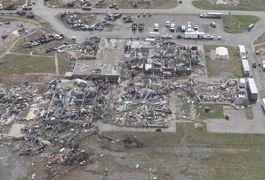Aftermath of a 210 mph tornado winds.