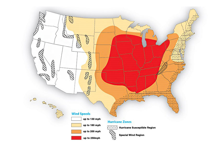 This map depicts potential tornado wind speeds in different U.S. regions.