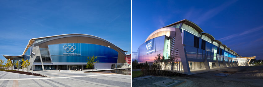Richmond Olympic Oval before (left) and after (right)